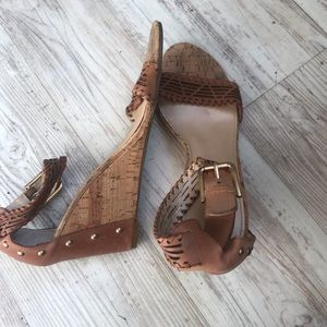 Marc Fisher leather and cork studded wedge sandals